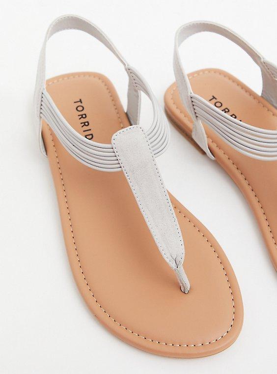 Grey Faux Suede Stretch Band Sandal (WW), , hi-res