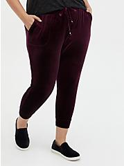 Relaxed Fit Crop Jogger - Velour Burgundy Purple, WINETASTING, hi-res