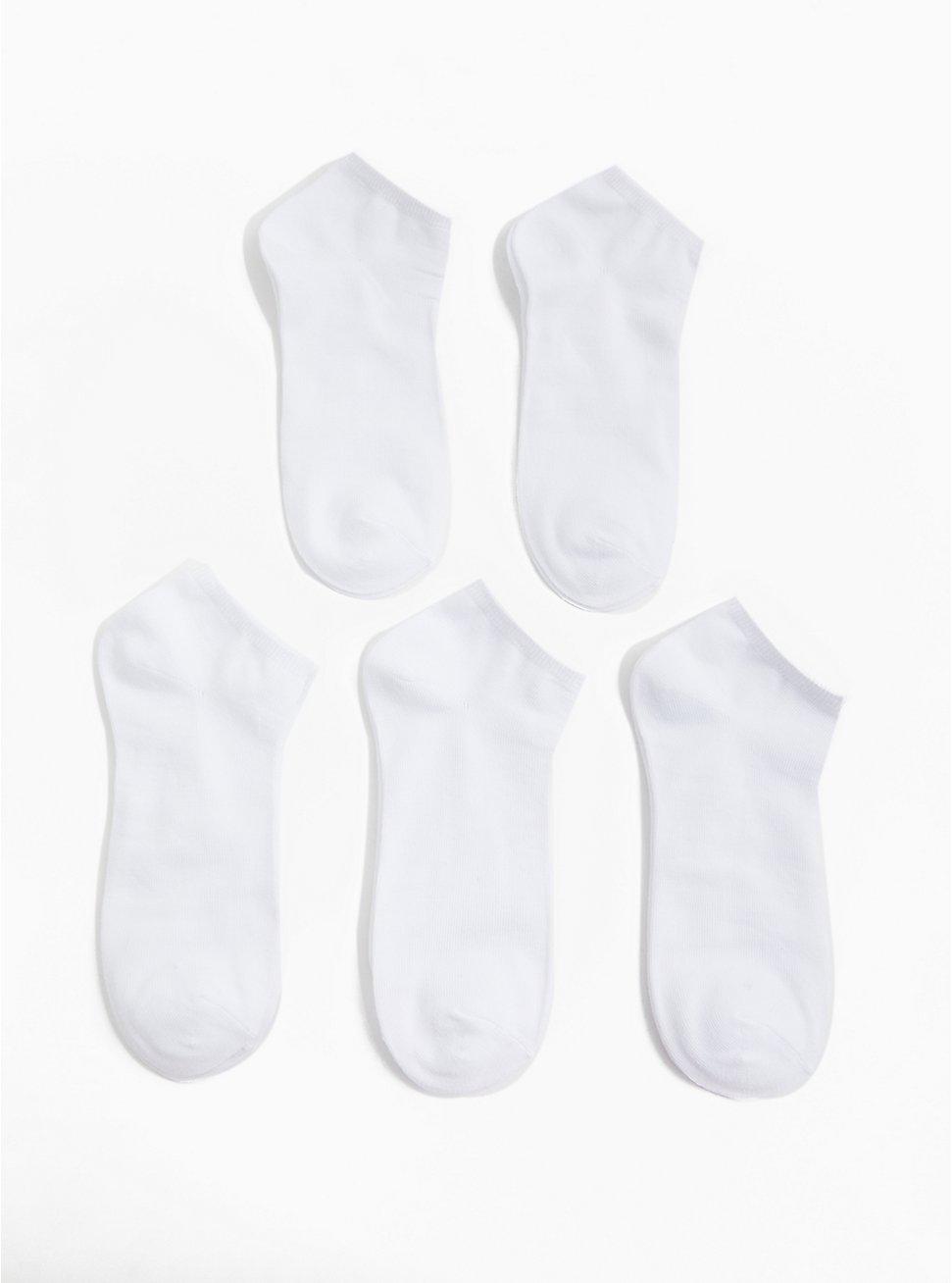 White Cotton Ankle Socks Pack - Pack of 5, WHITE, hi-res