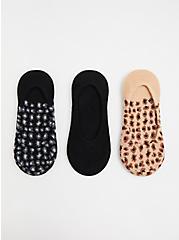 Leopard No-Show Socks Pack - Pack of 3, MULTI, hi-res