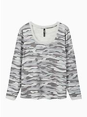 Grey Camo Micro Modal Terry Long Sleeve Sleep Tee, MULTI, hi-res
