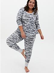 Grey Camo Micro Modal Terry Drawstring Sleep Pant , MULTI, hi-res