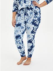 Navy Tie-Dye Micro Modal Terry Drawstring Sleep Pant , MULTI, alternate