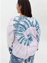 Blue & Purple Tie-Dye Micro Modal Terry Long Sleeve Sleep Tee, MULTI, alternate