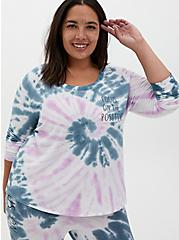 Blue & Purple Tie-Dye Micro Modal Terry Long Sleeve Sleep Tee, MULTI, hi-res