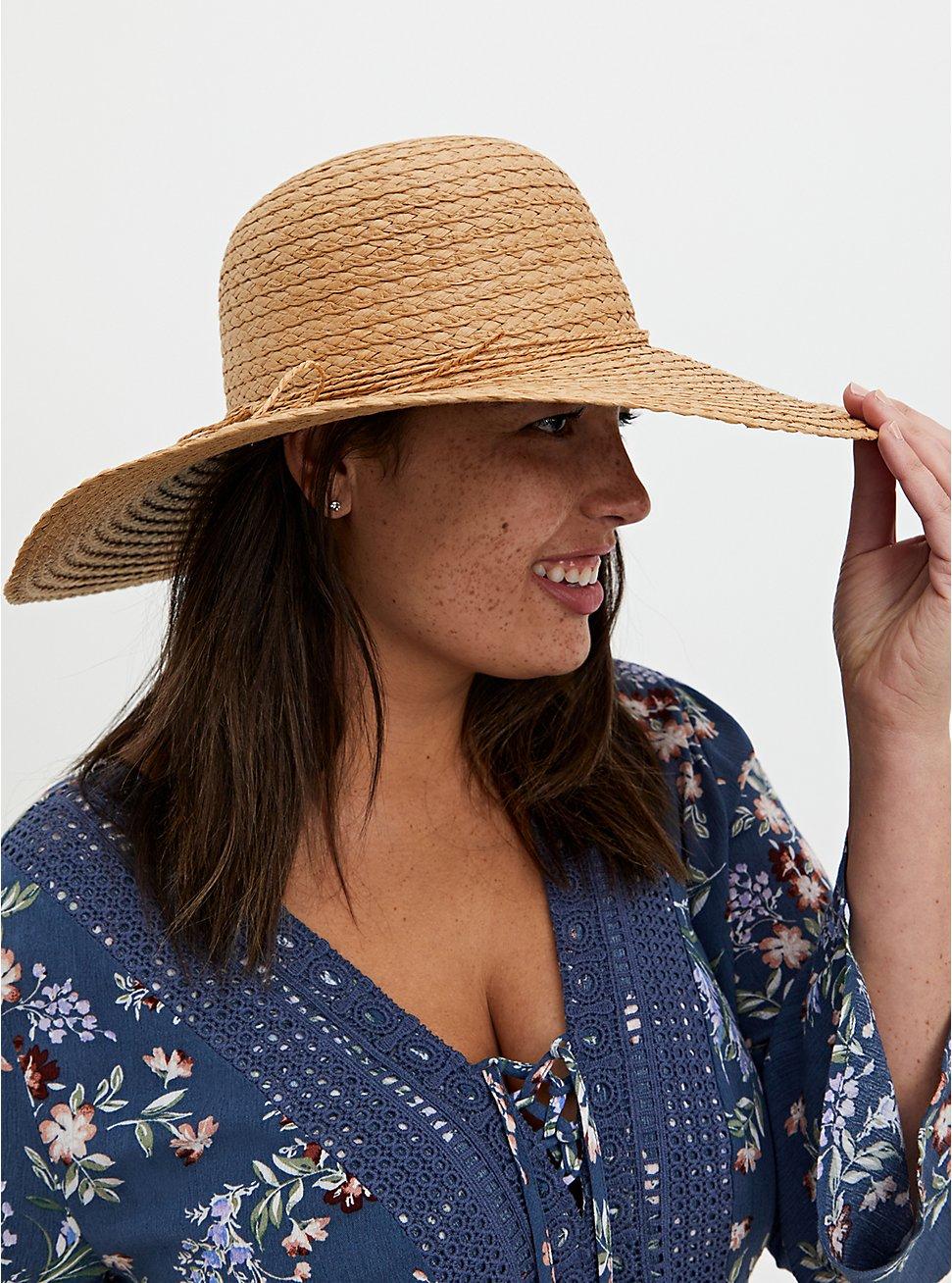 Tan Straw Floppy Hat, BEIGE, hi-res