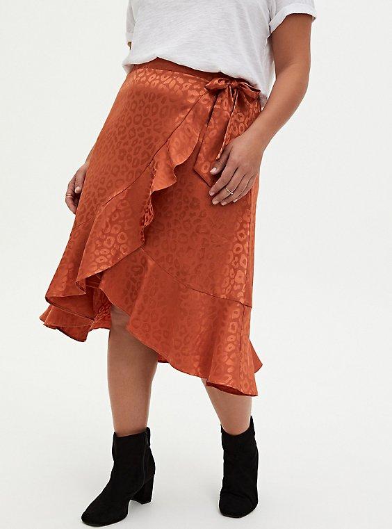 Copper Leopard Jacquard Ruffle Wrap Midi Skirt , COPPER, hi-res