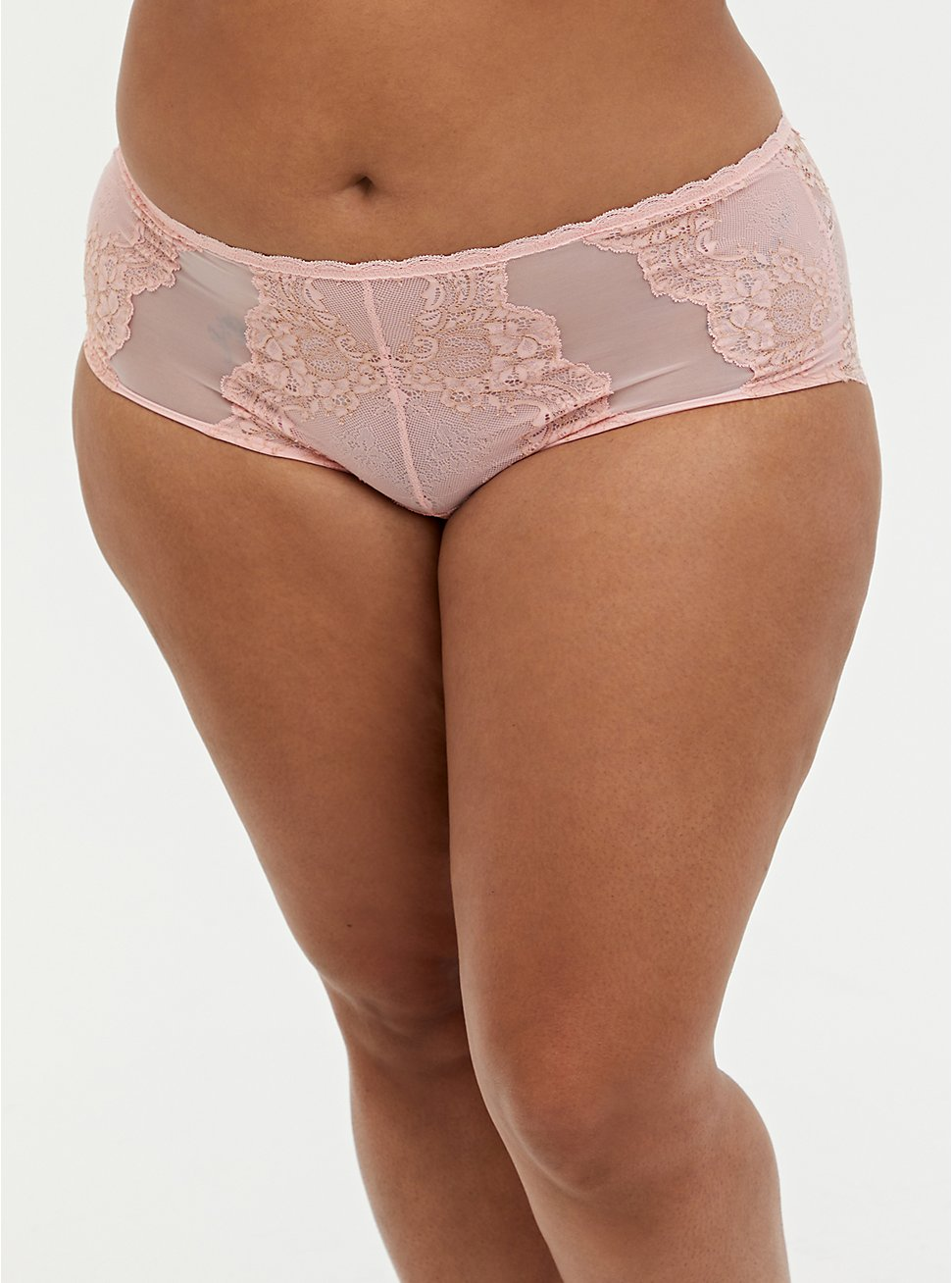 Light Pink Shimmer Lace Lattice Cheeky Panty , LIGHT PINK, hi-res