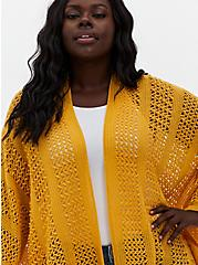 Golden Yellow Pointelle Ruana, , alternate