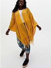 Golden Yellow Pointelle Ruana, , hi-res