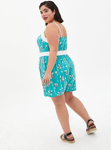 Disney Daisy Turquoise Retro Front-Tie Romper, TEAL, alternate