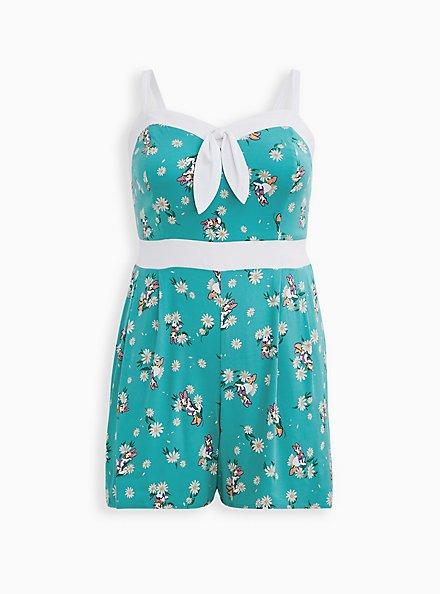Disney Daisy Turquoise Retro Front-Tie Romper, TEAL, hi-res