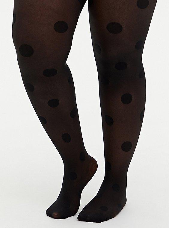 Black Opaque Polka Dot Tights, BLACK, hi-res