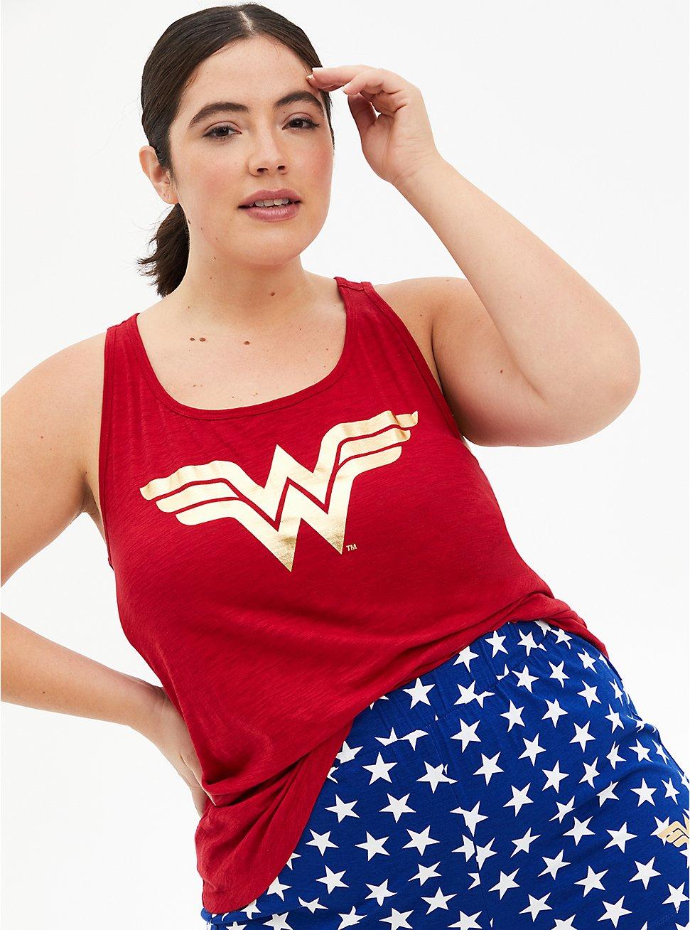 Wonder Woman Multi Jersey Sleep Tank, JESTER RED, hi-res