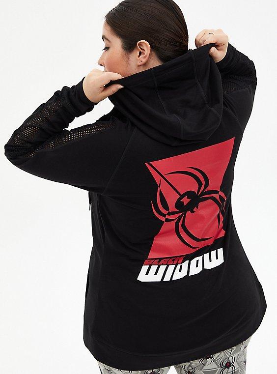 Marvel Black Widow Black Mesh Zip Hoodie, DEEP BLACK, hi-res