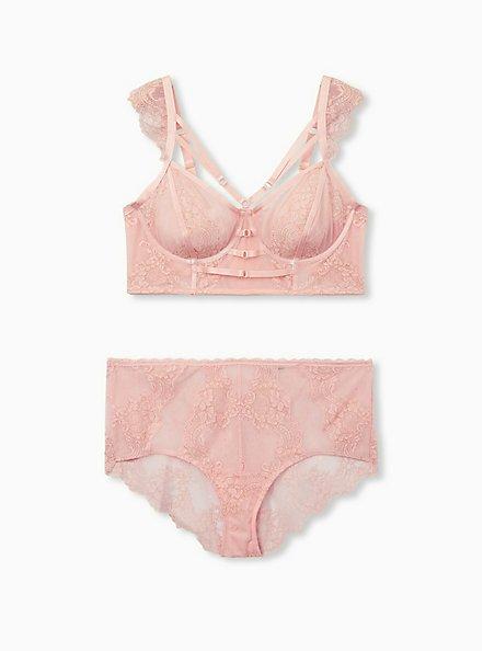Light Pink Lace Harness Longline Underwire Bralette, LIGHT PINK, alternate