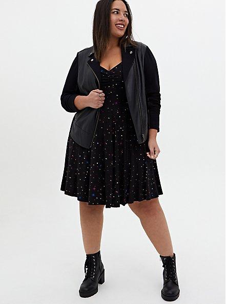 Super Soft Black & Multi Star Skater Dress, STARS - BLACK, alternate