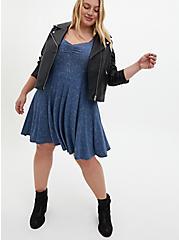Super Soft Vintage Indigo Twinkle Skater Dress, STAR BLUE, alternate