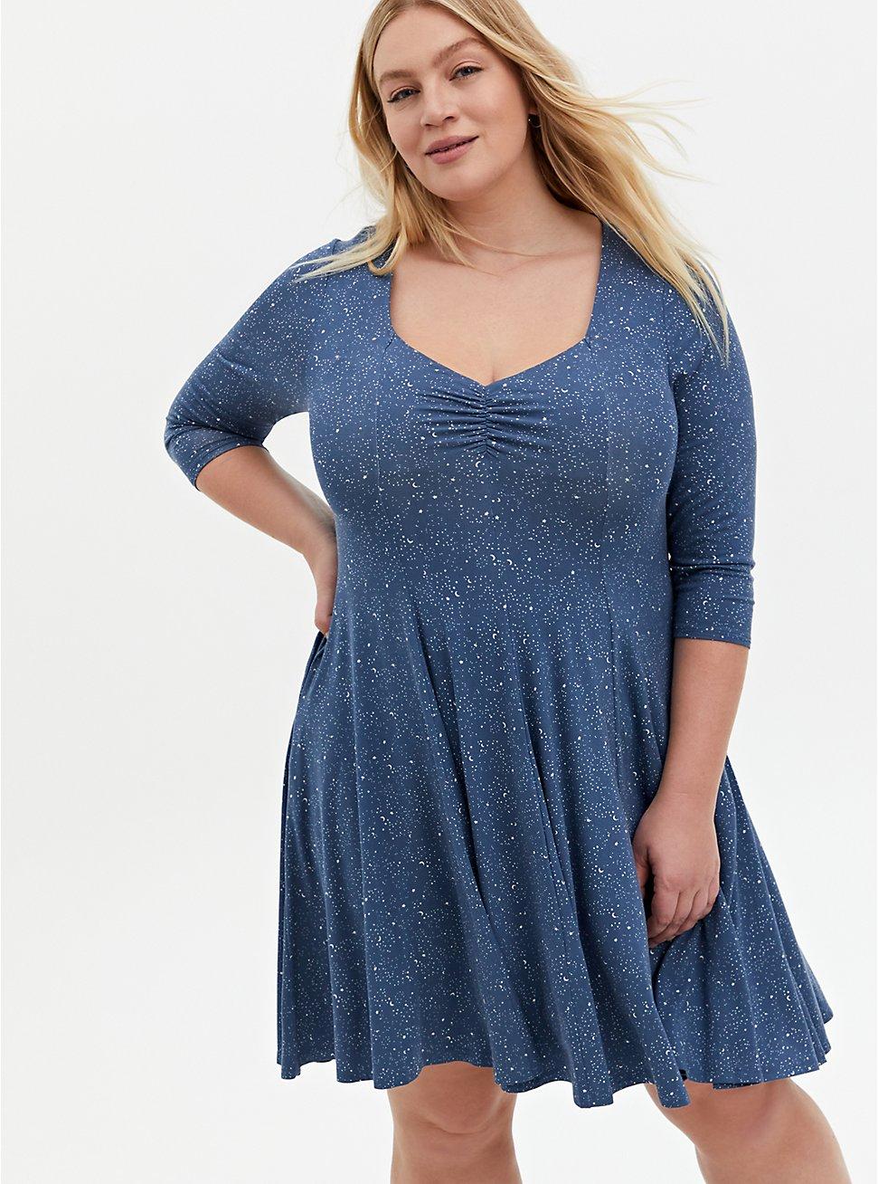 Super Soft Vintage Indigo Twinkle Skater Dress, STAR BLUE, hi-res