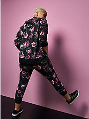 Betsey Johnson Classic Fit Crop Active Jogger - Terry Floral Black , FLORAL - GREY, alternate