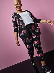Betsey Johnson Classic Fit Crop Active Jogger - Terry Floral Black , FLORAL - GREY, hi-res