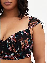 Black Floral Mesh Drawstring Cap Sleeve Longline Bralette, FLOWER SPRIGS, alternate