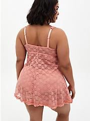 Coral Lace Underwire Babydoll, , alternate