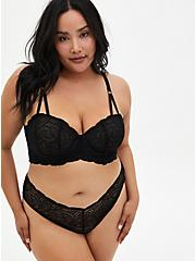 Black Lace Underwire Longline Bralette, RICH BLACK, alternate
