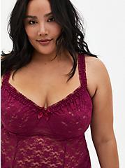 Berry Pink Lace Underwire Babydoll, NAVARRA, alternate