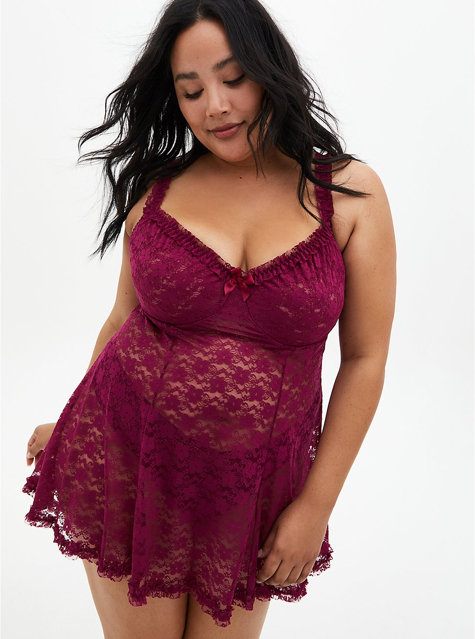 Berry Pink Lace Underwire Babydoll, NAVARRA, hi-res