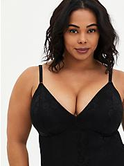 Black 360° Smoothing Lace Bodysuit, RICH BLACK, alternate