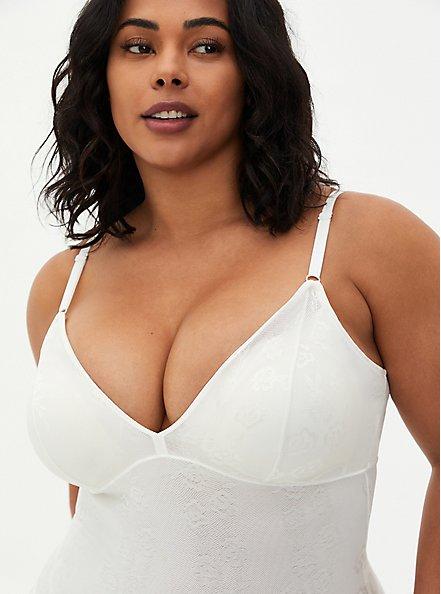 White 360° Smoothing Lace Bodysuit, CLOUD DANCER, alternate