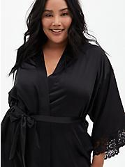 Black Skull Floral Full Length Robe, RICH BLACK, alternate
