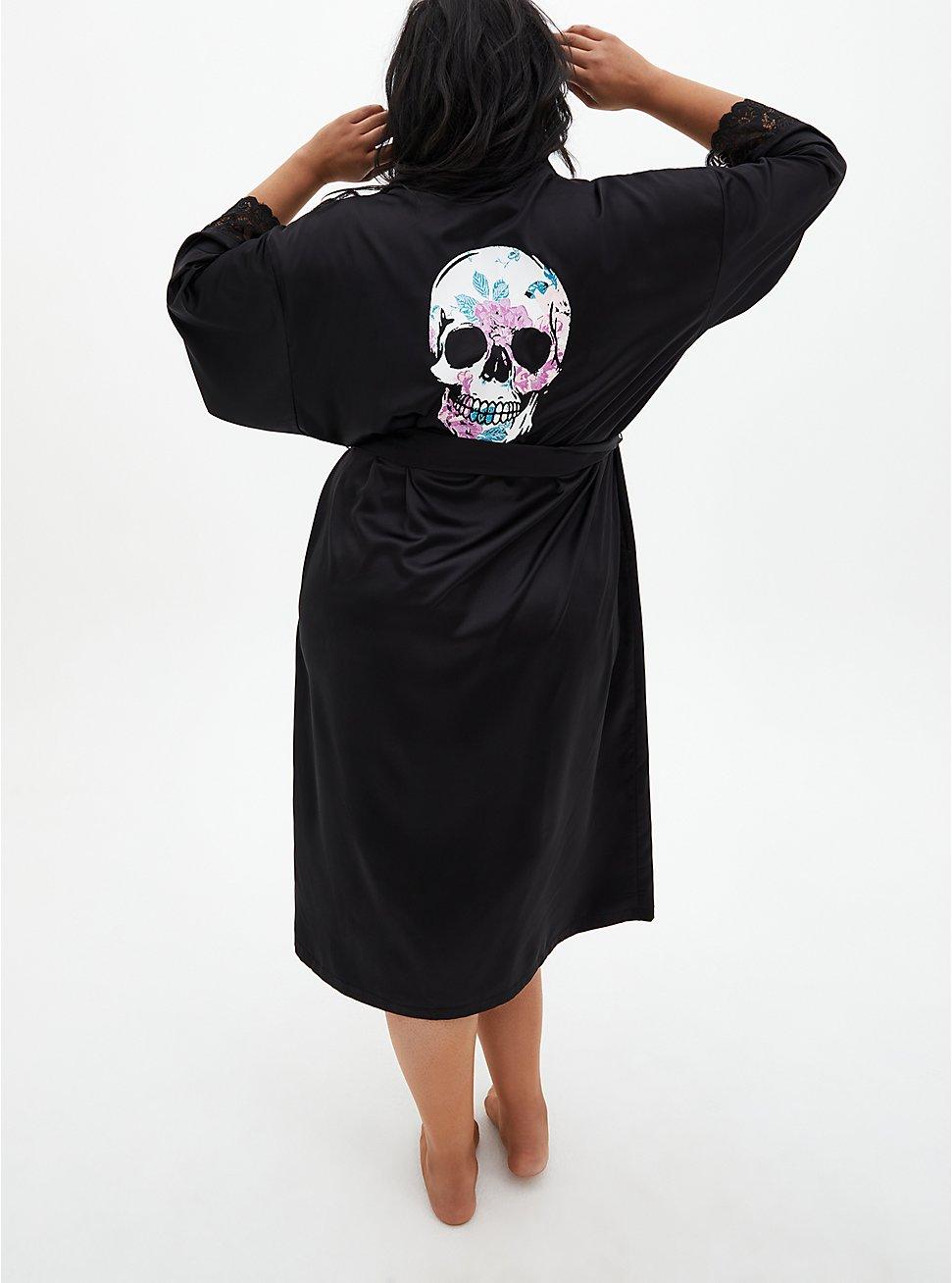 Black Skull Floral Full Length Robe, RICH BLACK, hi-res
