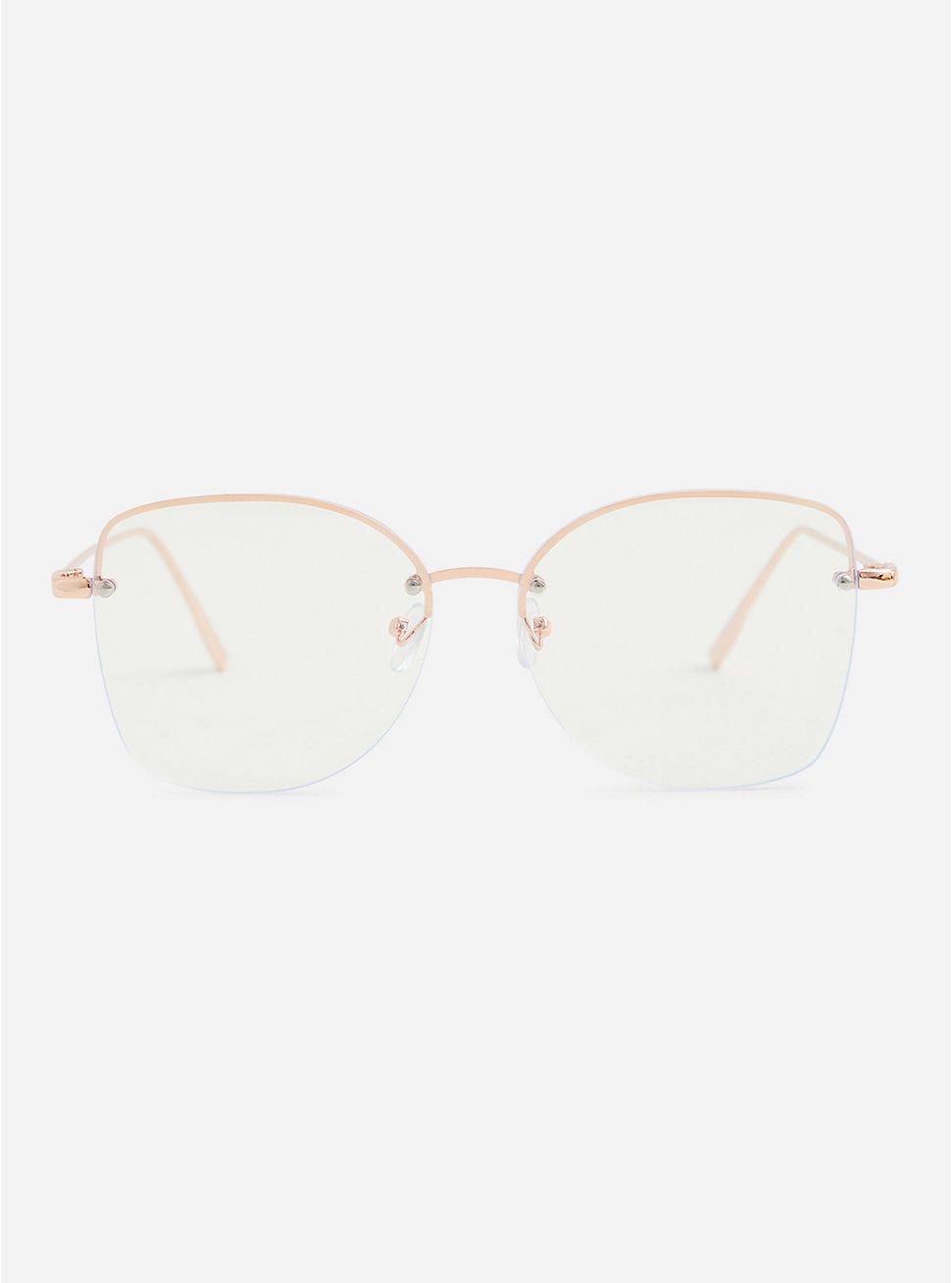 Gold Tone Aviator Blue Light Glasses, , hi-res