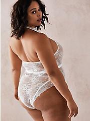 White Lace-Up Halter Bodysuit, CLOUD DANCER, alternate
