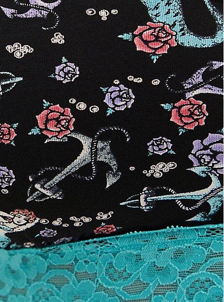 Mermaid Floral Lightly Padded Lace Cotton Bralette, VINTAGE NAUTICAL- BLACK, alternate