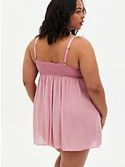 Pink Cap Sleeve Strappy Babydoll, , alternate
