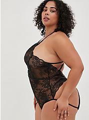Black Lace-Up Halter Open Back Bodysuit , RICH BLACK, alternate