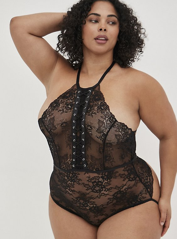 Black Lace-Up Halter Open Back Bodysuit , RICH BLACK, hi-res