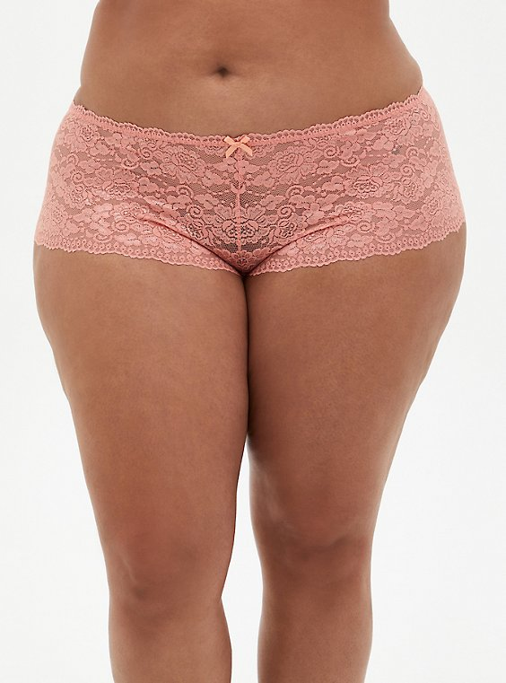 Plus Size Coral Lace Cheeky Panty, CORAL, hi-res