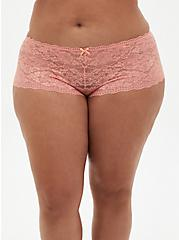 Coral Lace Cheeky Panty, CORAL, hi-res