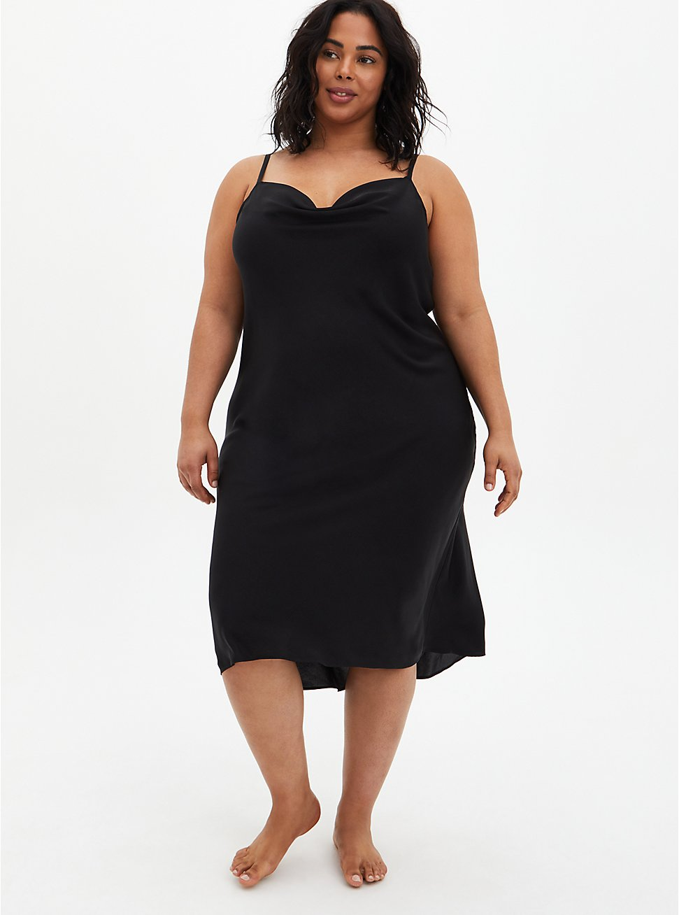 Black Cowl Neck Mid Length Satin Slip, RICH BLACK, hi-res