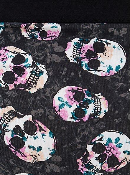 Black Skull Floral Cotton Cheeky Panty, ROSE FILLED SKULLS, alternate