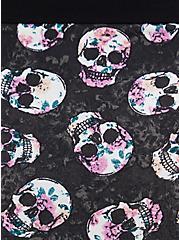 Black Skull Floral Cotton Brief Panty, ROSE FILLED SKULLS, alternate
