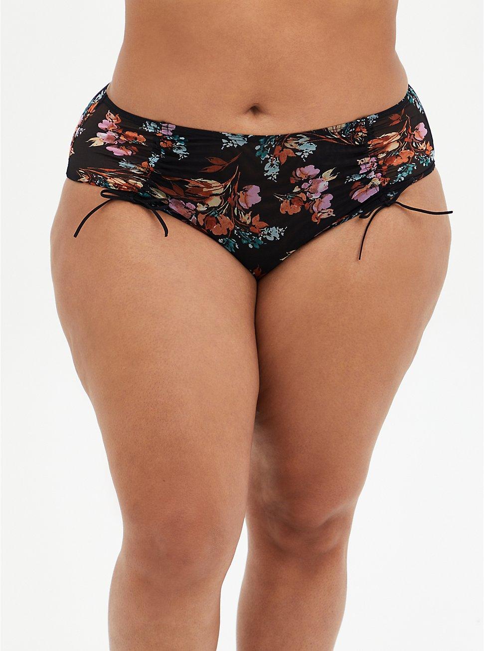 Black Floral Mesh Drawstring Cheeky Panty, SPRING FLORAL, hi-res