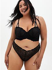 Black Lace High Waist Thong Panty , RICH BLACK, alternate