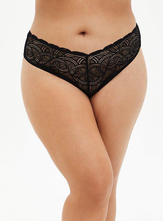 Black Lace High Waist Thong Panty , , hi-res