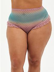 Pink Ombre Mesh Ruffle Trim High Waist Thong Panty, , hi-res