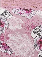 Purple Skull Floral Wide Lace Cotton Brief Panty, FLORAL SKULL-PURPLE, alternate